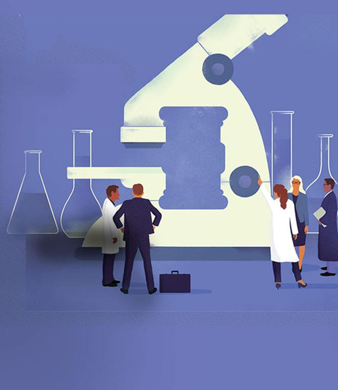 Duke Law Magazine, Spring 2016 cover illustation of lawyers and scientists pointing at a large microscope
