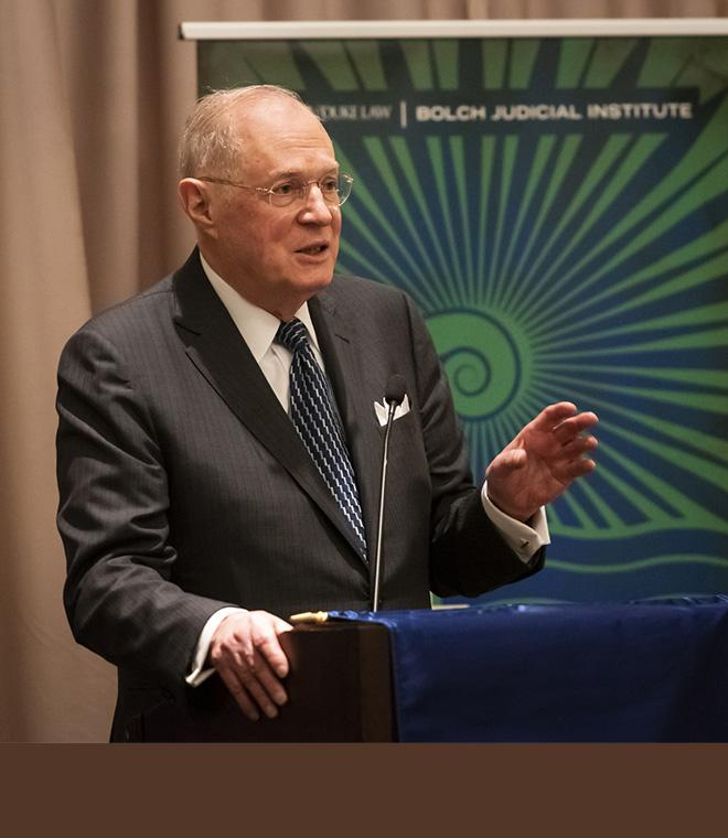 Retired Justice Kennedy receiving the inaugural Bolch Prize