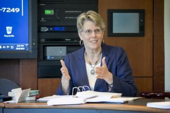 Professor Jane R. Wettach in the classroom