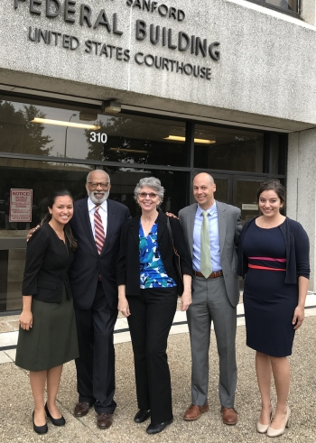 Duke Law's Eileen Ulate '19, professors James E. Coleman, Jr., Theresa Newman, and Jamie Lau, and Sarah Milkovich '19