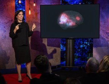 Professor Nita Farahany shows a representation of her own brain activity during a TED Talk/Photo: Ryan Lash
