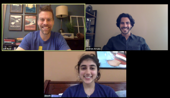 Prof. Ward, JusticeText co-founder Devshi Mehrotra, and mentor Andrew Arruda of ROSS Intelligence during a weekly online session