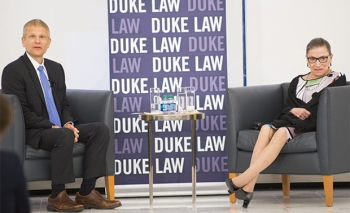 Prof. Neil Siegel with Supreme Court Justice Ruth Bader Ginsburg