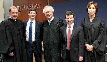 Chief Judge James C. Dever III '87, Will Hawkins '17, Judge Paul V. Niemeyer, Jordan Glassberg '17, and Judge Alyson K. Duncan '75.