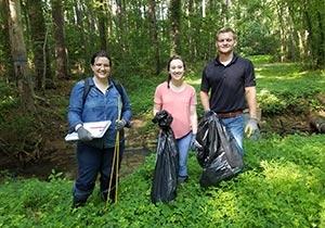 Clinic interns on a stream-sampling trip in Durham, L-R: Christine Gerbode, Ashley Tilley, and Mitchell Bishop