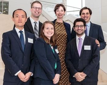 image of Haichuan Luo '18, Matt Eible JD/LLM'19, Meaghan Newkirk JD/LLM '18, Clinical Professor Jayne Huckerby, Dimitrios Lyratzakis '18, and Jeremy Iloulian '18