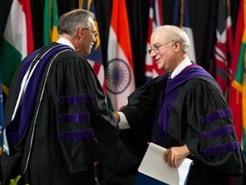 Dean David F. Levi shaking hands with U.S. Solicitor General Donald B. Verrilli Jr.