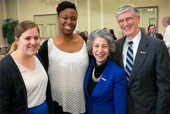 B. S. Womble Scholars Amelia Krolak '17 and Christine Umeh '17 with Erna and Bill Womble Jr. '67
