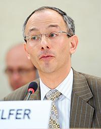 Prof. Laurence Helfer speaking at UN