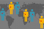 Illustration of linked people with world map in background